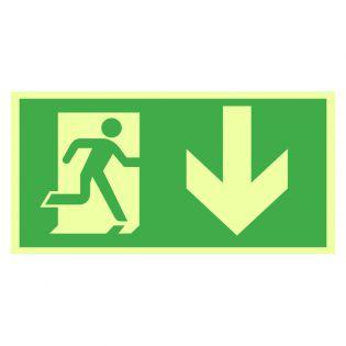 Rømningsveiskilt - løpende mann, pil ned